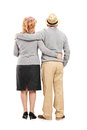 Lovely mature couple full length portrait of a isolated on white background rear view Royalty Free Stock Image