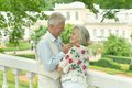 Lovely mature couple outdoors portrait of happy Royalty Free Stock Images