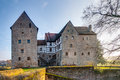Lovely medieval water castle brennhausen in bavaria germany with reflections in the landscape and architecture picture of Royalty Free Stock Image