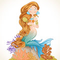 Lovely mermaid combing her long hair on white background Royalty Free Stock Image