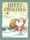 Lovely Merry Christmas greeting card or poster with Santa Royalty Free Stock Photo