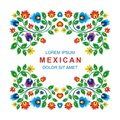 Lovely Mexican ethnic Floral decoration design Royalty Free Stock Photo