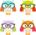 Lovely owls with glasses scalable vectorial image representing a isolated on white Stock Photo