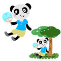 Lovely panda in summer Royalty Free Stock Images