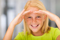 Lovely preteen girl happy looking forward Stock Photos