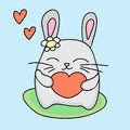 Lovely rabbit holds love heart vector illustration Stock Images