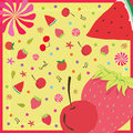 Lovely red fruits watermelon strawberry cherry Stock Photos