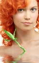 Lovely redhead with bamboo in Royalty Free Stock Image