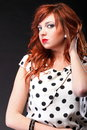 Lovely redhead young beautiful red haired woman blue eye Royalty Free Stock Photography