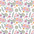 Lovely Seamless pattern with flowers,peonies,leaves,branches,eucalyptus,succulents, and more