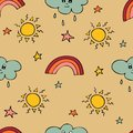 Lovely seamless pattern with the hand-drawn sun, clouds, rainbow