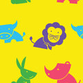Lovely seamless pattern wildlife cartoon in yellow background.suitable for animal lover to create pattern in gift wrap and website