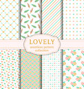 Lovely seamless patterns. Vector set. Royalty Free Stock Photo