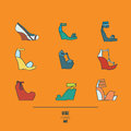 Lovely set with stylish fashion shoes, hand drawn and isolated on orange background. Vector illustration showing various wedge hig