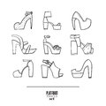 Lovely set with stylish fashion shoes, hand drawn and isolated on white background. Vector illustration showing various platform h