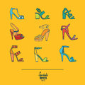 Lovely set with stylish fashion shoes, hand drawn and isolated on yellow background. Vector illustration showing various stiletto