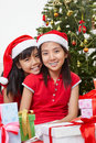 Lovely sibling with Christmas outfit Royalty Free Stock Photography