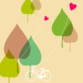 Lovely spring theme illustration bicycle under tree Royalty Free Stock Photography