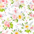 Lovely summer garden seamless vector print. Wild rose, orchid, fresh green leaves, blue berries. Royalty Free Stock Photo