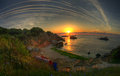 Lovely sunrise captured on the black sea bulgaria resort rusalka is very beautiful place for recreation during your holidays Stock Image