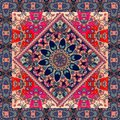 Lovely tablecloth with mandala and ornamental border on floral background.