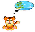 Lovely tiger toddler dreams Stock Images