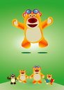 Lovely toy bear funny cute jumping in joy with four variations displaying different poses of the Stock Image