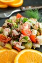 Lean Octopus Salad with Cherry Tomatoes, Olives, and Capers Royalty Free Stock Photo
