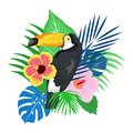 Lovely tropical leave with parrot bird