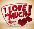 Lovely valentine s message accompany with glossy hearts vector and exclamation sign day Stock Image