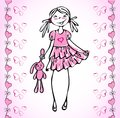 Lovely vector girl how fall in love heart. Royalty Free Stock Photos