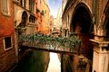 Lovely venetian bridge flowered and in the sestiere of venice Royalty Free Stock Photo