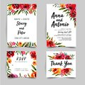 Lovely watercolor set rose bright of wedding invitation