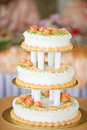 Lovely wedding cake beautiful three layer Stock Photos