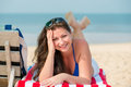 Lovely woman with a beautiful smile on the beach Royalty Free Stock Photography