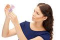 Lovely woman with euro cash money picture of Royalty Free Stock Photography