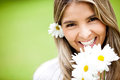 Lovely woman with flowers Stock Image