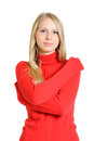 Lovely woman in red blouse Royalty Free Stock Photos