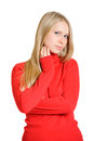 Lovely woman in red blouse Stock Photos