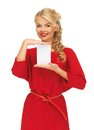 Lovely woman in red dress with note card picture of Royalty Free Stock Image