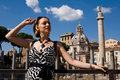 Lovely woman in Rome Stock Photography
