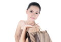 Lovely woman with shopping bags isolated on white background Stock Image