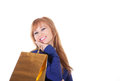 Lovely woman with shopping bags over white background Stock Photo