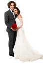 Lovely young married couple handsome groom embracing his wife full length Royalty Free Stock Photos