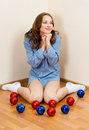 Lovely young woman wait for Christmas Stock Photography
