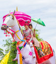 Lover in legend mahasarakham thailand may thai riding horse model join rocket festival boon bang fai parade on may this festival Royalty Free Stock Photography