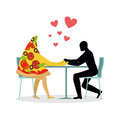 Lover pizza in cafe. Man and a slice of pizza sitting at table.