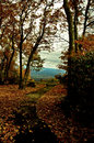 Lover s leap park virginia in autumn foliage photographed with leaves on the ground with the blue ridge mountains the Royalty Free Stock Photo