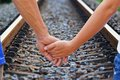 Lover travels straight railroad track at chonburi thailand Royalty Free Stock Images