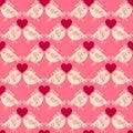 Lovers birdies seamless geometric pattern. Valentines Day love background.